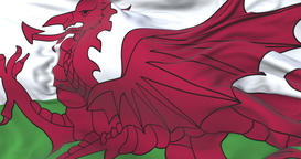 Wales flag waving at wind in slow with blue sky, loop Animation