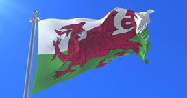 Flag of Wales waving at wind in slow with blue sky, loop Animation