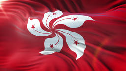 Flag of Hong Kong waving on sun. Seamless loop with highly detailed fabri Animation