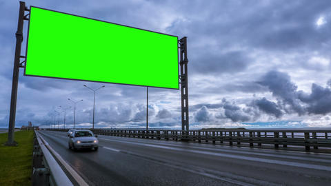 Billboard green screen about high-speed roads. timelapse Live Action