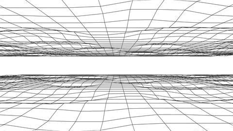 3D B&W Flowing Digital Grid Floor & Ceiling Loopable Background Animation