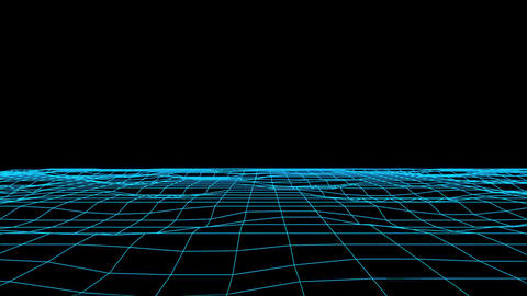 3D Blue Flowing Digital Grid Floor Loopable Graphic Element Background Animation