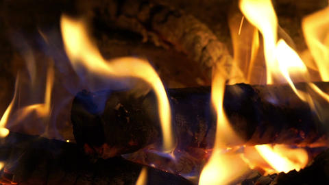 Burning Fire in the Fireplace Footage