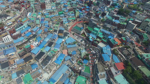 Aerial of Gamcheon Culture Village 08 Live Action