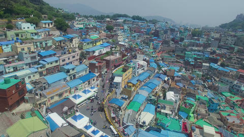Aerial of Gamcheon Culture Village 14 Footage