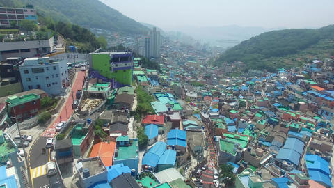 Aerial of Gamcheon Culture Village 19 Footage