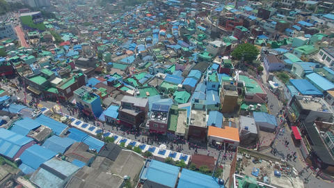 Aerial of Gamcheon Culture Village 22 Live Action