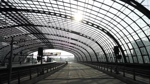 Berlin Hauptbahnhof Inside View, Deutsche Bahn Central Railway Station Building Footage