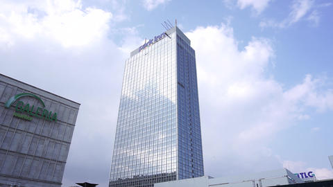 Galeria Park Inn Tower On Alexanderplatz Berlin Clouds Sky Cityscape Background Footage