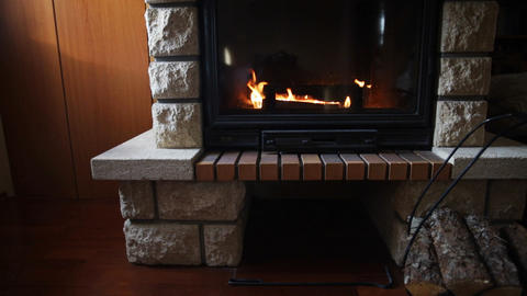 close up of burning fireplace at home Footage