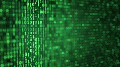 green digital binary data close-up shallow DOF loop Animation