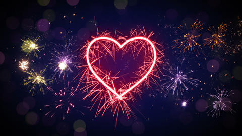 sparkler heart shape and fireworks loop animation Videos animados