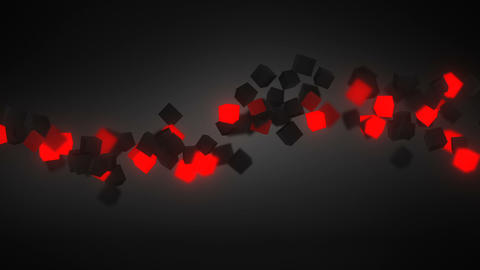 glowing red 3D cubes wave loopable background Animation