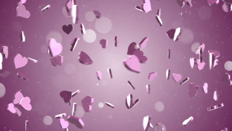 camera flying around pink hearts loop Animation