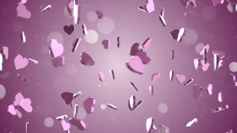 camera flying around pink hearts loop Animation