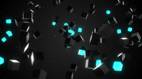 camera flying around glowing cubes loop Animation