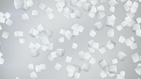 white 3D cubes flying down loopable Animation