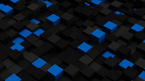 Blue and black 3D boxes. Loopable abstract background Animation