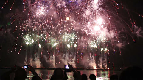 epic fireworks from boats on sea Live Action