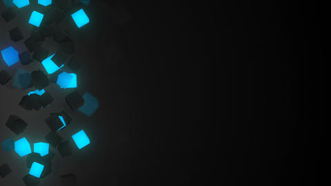 Glowing blue 3D cubes loopable background Animation
