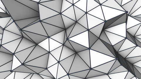Grey low poly 3D surface. Futuristic loopable animation Animation