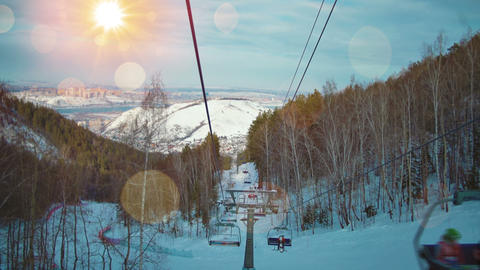 View from chair lift in mountains Footage