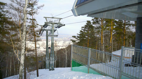 People using rope tow system in ski resort Footage