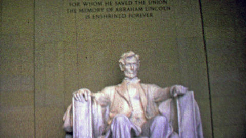 1963: Lincoln Memorial marble carved statue immutable words Footage
