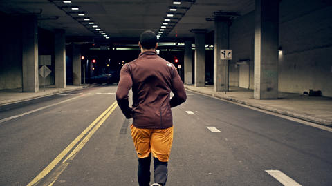 Athletic Male Running Through A Tunnel Footage