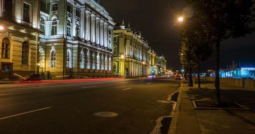City street at night. Saint-Petersburg. timelapse Footage