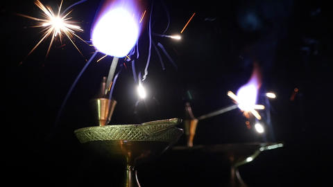 Sparkler burns in the dark Footage
