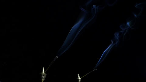 Smoke from fragrant sticks. slow motion Stock Video Footage