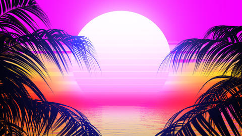 Retro Palm Trees Animation