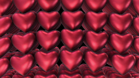 Background of the plurality of air red hearts Animation