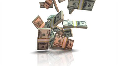 falling dollar bills in slow motion animation
