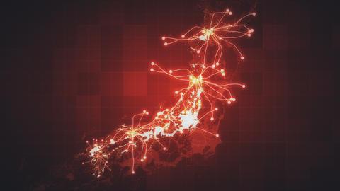 Red Japan Map Network Videos animados