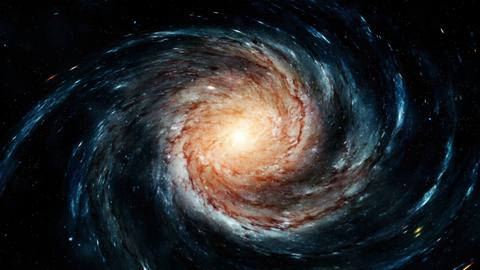 Flight near a rotating spiral galaxy. 3D rendering フォト