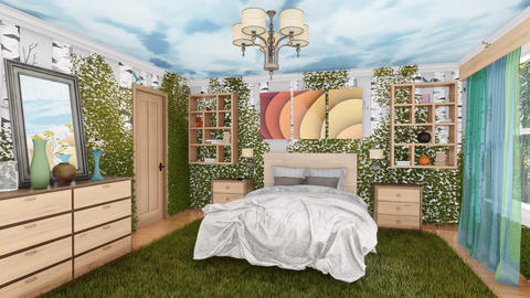 Ecological bedroom interior with green plants Animation