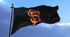Flag of San Francisco Giants, american professional baseball team, waving - loop Animation