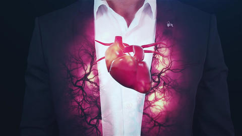 Hologram vessels and the heart, veins, to the brutal man Live Action