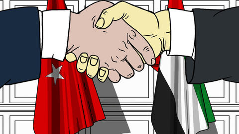 Businessmen or politicians shake hands against flags of Turkey and UAE. Official Footage