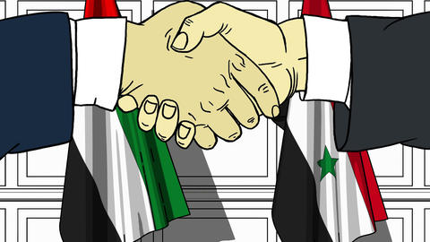 Businessmen or politicians shake hands against flags of UAE and Syria. Official Footage