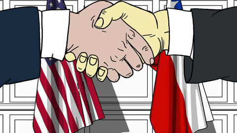Businessmen or politicians shake hands against flags of USA and Chile. Official Footage