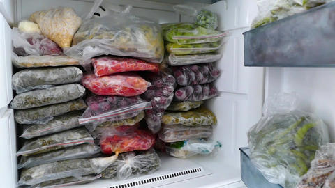 deep-freezer full of natural foods and food Live Action