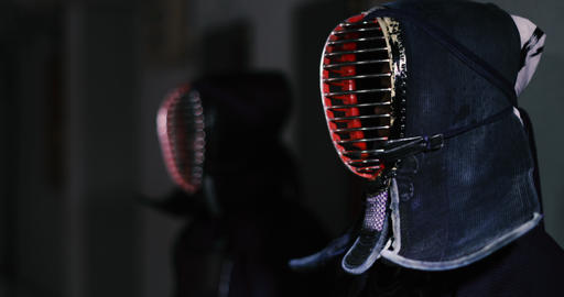 Kendo practitioners getting ready for fight in Dojo, Tokyo, Japan Footage