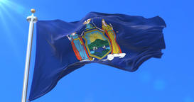 Flag of New York state, region of the United States - loop Animation