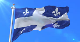 Flag of canadian region of Quebec, province of Canada - loop Animation