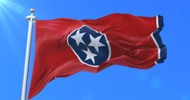Flag of Tennessee state, region of the United States - loop Animation
