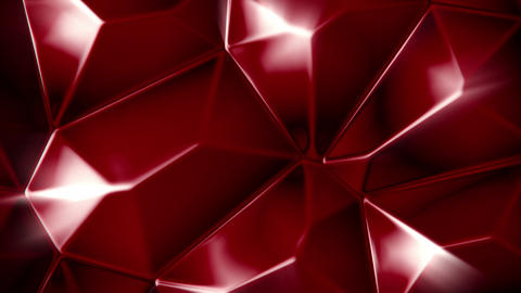 Rotating red crystals abstract background seamless loop Animation