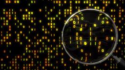 Data under magnifying glass binary spying spyglass 4k Footage